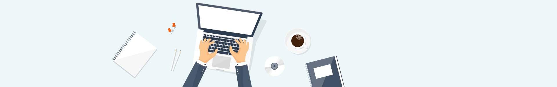Bild: eine Person tippt am Laptop